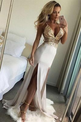 Alluring Backless Spaghetti Straps Banquet Dresses | Affordable Split Lace Formal Dresses Online_1