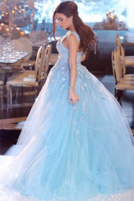 Sky Blue Lace Appliques Affordable Banquet Dresses | Sleeveless Alluring Overskirt Tulle Beads Evening Dress_3