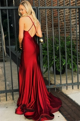 Simple Red Sexy V-Neck Mermaid Banquet Dresses | Affordable Open Back  Formal Dresses_3