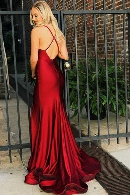 Vestidos de fiesta de sirena con cuello en V rojos simples | 2019 vestidos de noche de espalda abierta baratos_3