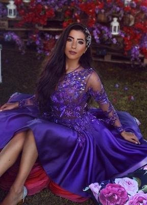 Abalorios Apliques gasa Tul Regencia Vestido de Fiesta Baratos | Vestido de noche corto popular manga larga 2019_3