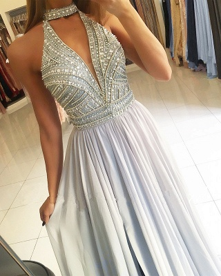 High Neck Crystal A-Line Long Formal Dresses | Sleeveless Affordable Banquet Dresses_3
