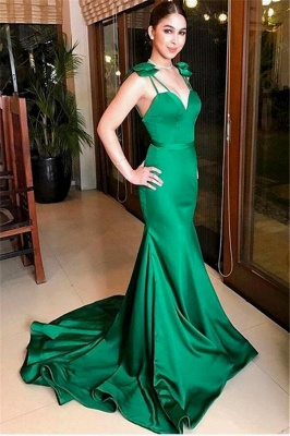 Dark Green Mermaid Alluring Formal Dresses | Open Back Affordable Sleeveless Prom Dress with Bow_1