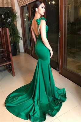 Dark Green Mermaid Alluring Formal Dresses | Open Back Affordable Sleeveless Prom Dress with Bow_3