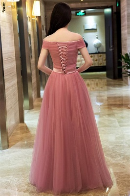 Pink Off The Shoulder Tulle Bridesmaid Dresses | Tulle Lace Up Long Formal Dresses BC0709_3