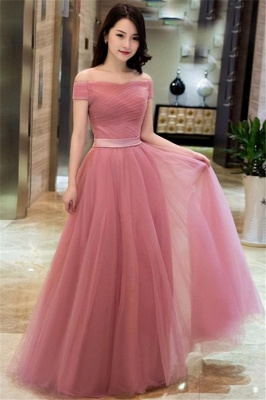 Pink Off The Shoulder Tulle Bridesmaid Dresses | Tulle Lace Up Long Formal Dresses BC0709_1