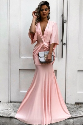Half Sleeves Plunging V-neck Pink Formal Dresses | Mermaid Affordable Cheap Evening Dresses bc1771_1