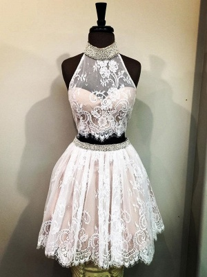 Trendy Quinceanera Two Pieces Dama Dresses | Lace Halter Beading Short XV Dama Dresses_1
