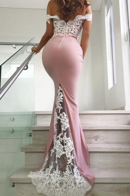 Pink Off Shoulder Mermaid Banquet Dresses | Alluring Lace Long Formal Dresses Online BC0359_3