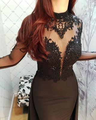 2019 Sexy Negro mangas largas vestidos de noche   Vestidos de fiesta elegantes con cuello alto de encaje y falda BC0526_4