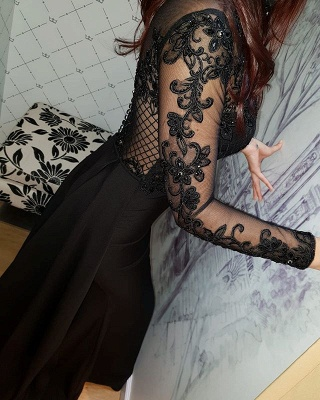 2019 Sexy Negro mangas largas vestidos de noche   Vestidos de fiesta elegantes con cuello alto de encaje y falda BC0526_5