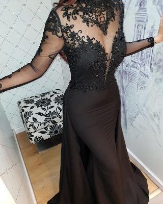 2019 Sexy Negro mangas largas vestidos de noche   Vestidos de fiesta elegantes con cuello alto de encaje y falda BC0526_3