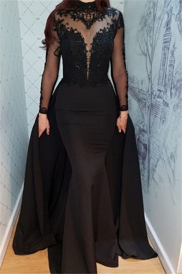 Alluring Timeless Black Long Sleeves Formal Dresses | Elegant Lace High Neck Banquet Dresses with Overskirt BC0526_1