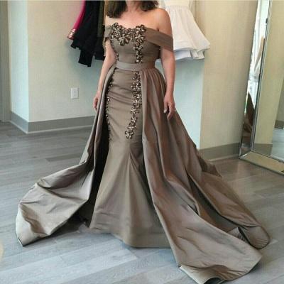 Glamorosa fuera del hombro vaina vestidos de noche largos | Appliques Falda baratos vestidos formales 2019_3