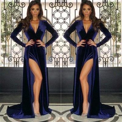 Vestidos de noche de terciopelo profundo con cuello en V sexy | Mangas largas baratas hendidura lateral vestidos de baile 2019_3