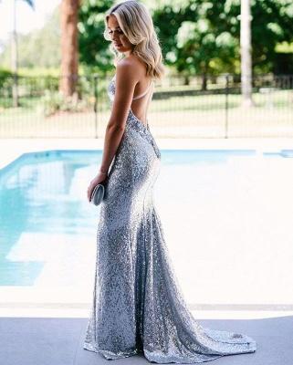 Vestido de noche de lentejuelas plateadas con espalda abierta barato 2019 | Sirena Tiras de espagueti Fomral Vestido bc1638_3