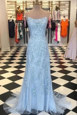 Spaghetti Strap Backless Sky Blue Mermaid Prom Dresses_2