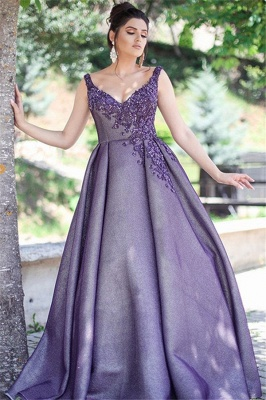 Glamorous Purple Sexy V-Neck Formal Dresses | Affordable Appliques Sleeveless Banquet Dresses with Beading_1
