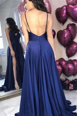Correas de espagueti azul marino vestidos de noche atractivos | 2019 Vestidos de fiesta baratos con espalda abierta con abertura latera_3