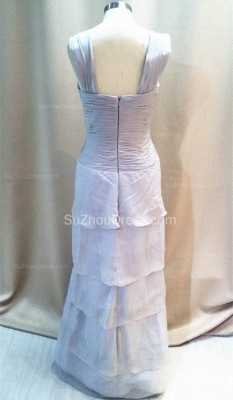 Elegant Tiered Silver Grey Chiffon Long Quinceanera Mother Dresses with Jacket Custom Plus Size Mother Dress_3