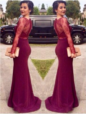Burgundy Long Sleeve Cheap Mother Dress Lace Sexy Sweep Train Elegant Formal Evening Dress_2