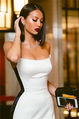 Strapless Alluring Side Slit Formal Dresses Affordable Online | Timeless Black White Sleeveless Affordable Formal Party Dress BC0527_4
