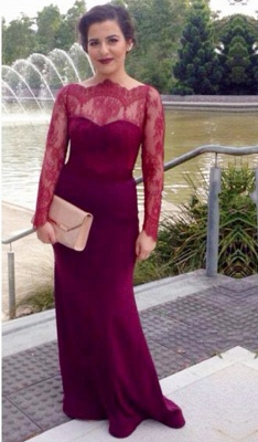 Burgundy Long Sleeve Cheap Mother Dress Lace Sexy Sweep Train Elegant Formal Evening Dress_1