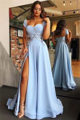 Cap Sleeves Open Back Blue Formal Evening Dress | Alluring Side Slit Appliques Banquet Dresses Affordable bc1747_1