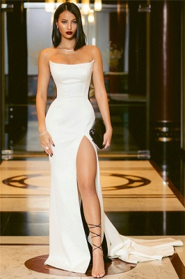 Strapless Alluring Side Slit Formal Dresses Affordable Online | Timeless Black White Sleeveless Affordable Formal Party Dress BC0527_3