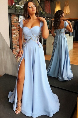 Cap Sleeves Open Back Blue Formal Evening Dress | Alluring Side Slit Appliques Banquet Dresses Affordable bc1747_3