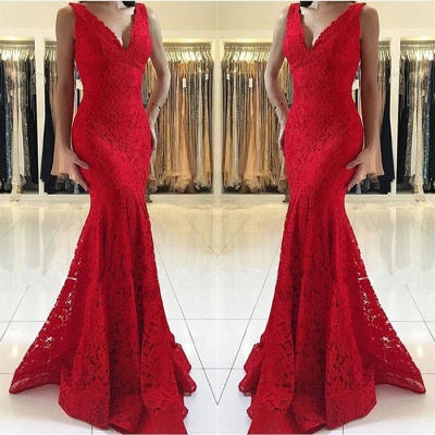 Red Sexy V-Neck Sleeveless Affordable Formal Dresses | Alluring Mermaid Lace Banquet Dresses BC0482_4