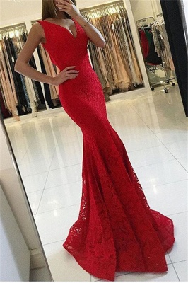 Red Sexy V-Neck Sleeveless Affordable Formal Dresses | Alluring Mermaid Lace Banquet Dresses BC0482_1
