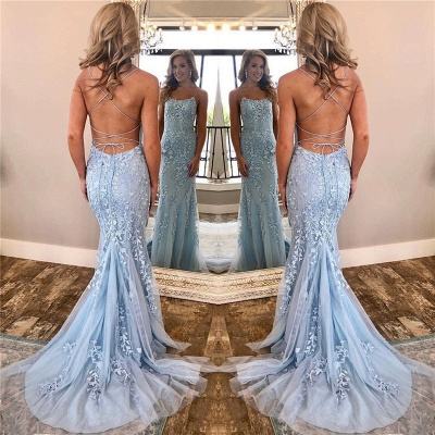 Spaghetti Straps Lace Appliques Alluring Banquet Dresses | Open Back Baby Blue Affordable Evening Dress BC0694_3
