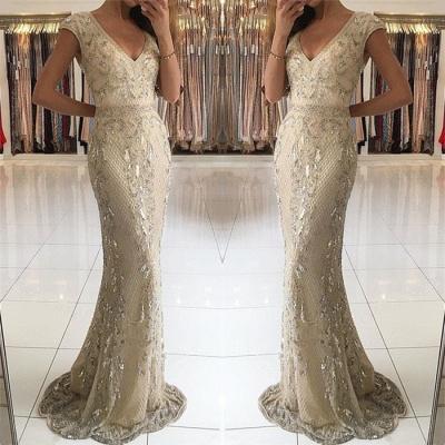 Elegant Champagne Sexy V-Neck Long Formal Dresses | Lace Crystal Mermaid Banquet Dresses_3