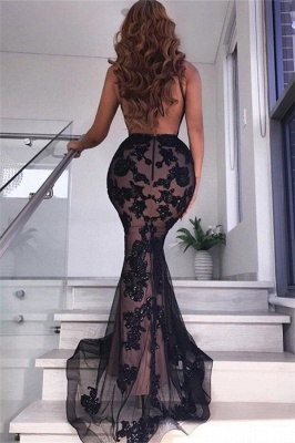 Alluring Timeless Black Sexy V-Neck Banquet Dresses | Affordable Backless Mermaid Formal Dresses Cheap_4