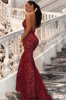 Alluring Backless Mermaid Sequins Banquet Dresses | Affordable Red Sexy V-Neck Sleeveless Evening Dress BC0989_1