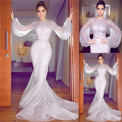 Lavender Bubble Sleeves Fully-covered Beads Formal Dresses | Lace Mermaid Alluring Affordable Banquet Dresses_4