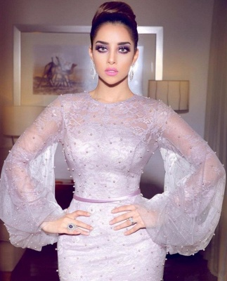 Lavender Bubble Sleeves Fully-covered Beads Formal Dresses | Lace Mermaid Alluring Affordable Banquet Dresses_3