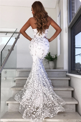 Open Back Sweetheart Leaf Appliques Quinceanera Dresses | Mermaid Alluring Sheer Tulle Evening Dress_3