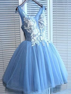 Elegantes vestidos de fiesta cortos azules | Vestidos de cóctel con cordones con cuello en V_1