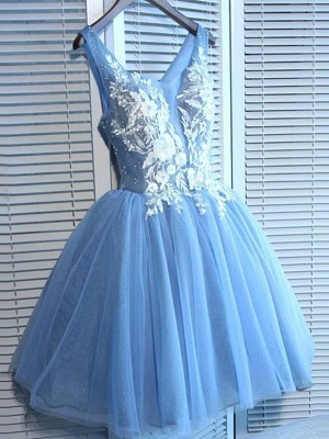 Elegant Blue Short Dama Dresses Sexy V-Neck Lace-Up XV Dama Dresses_1