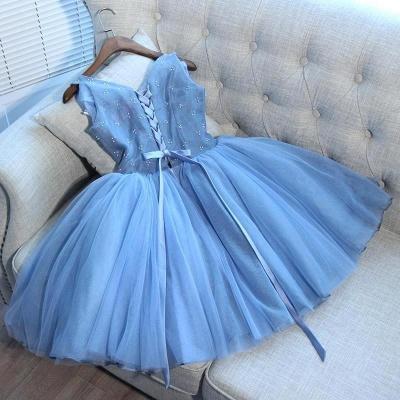 Elegantes vestidos de fiesta cortos azules | Vestidos de cóctel con cordones con cuello en V_4