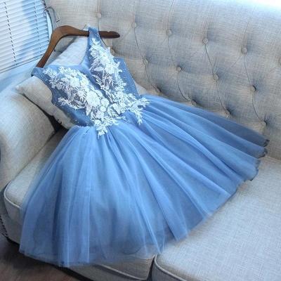 Elegantes vestidos de fiesta cortos azules | Vestidos de cóctel con cordones con cuello en V_3