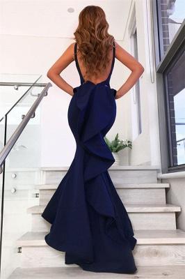 Volantes sin mangas azul marino vestidos de noche 2019 | Sirena sin mangas sexy vestidos de baile baratos bc0458_3