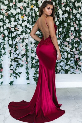 Magenta Backless Mermaid Spaghetti Straps Formal Dresses | Sleeveless Mermaid Lace Banquet Dresses Affordable BC0559_3