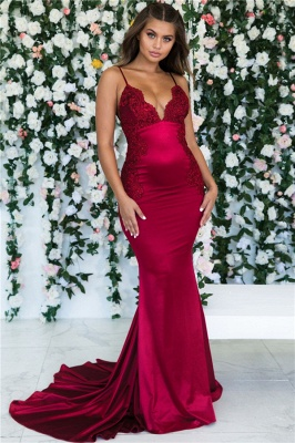 Magenta Backless Mermaid Spaghetti Straps Formal Dresses | Sleeveless Mermaid Lace Banquet Dresses Affordable BC0559_1