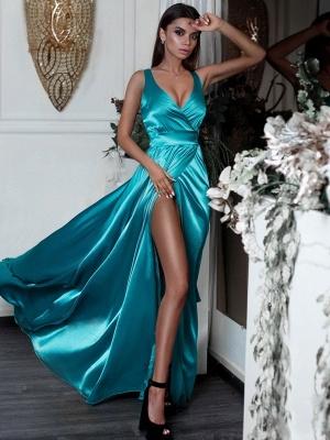 Turquoise Silk Satin Alluring Formal Dresses Affordable | Sexy V-Neck Split Sleeceless Formal Dresses BC0244_3