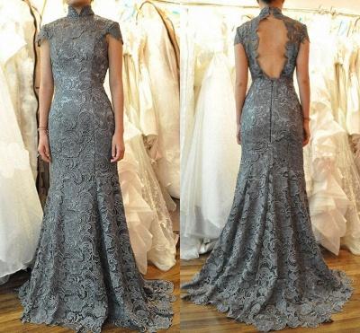 Sexy Mermaid High Collar Lace Quinceanera Mother Dress Short Sleeve Sweep Train Wedding Dress_3