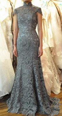Sexy Mermaid High Collar Lace Quinceanera Mother Dress Short Sleeve Sweep Train Wedding Dress_1
