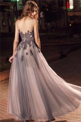 Sheer Tulle Open Back Sleeveless Formal Dresses | Alluring Grey Lace Affordable Banquet Dresses_3